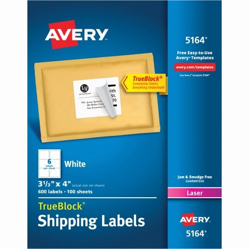 Avery Label 6 Per Page Lovely Avery Easy Peel Address Label Ave5164 Shoplet