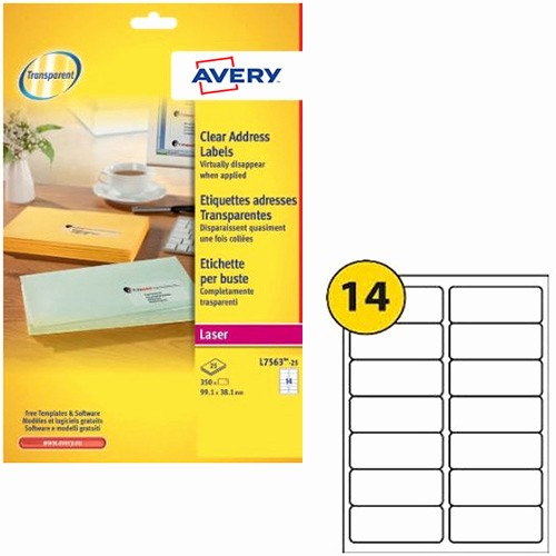 Avery Label 6 Per Page New Avery 14 Per Sheet Clear Laser Label Pack Of 350