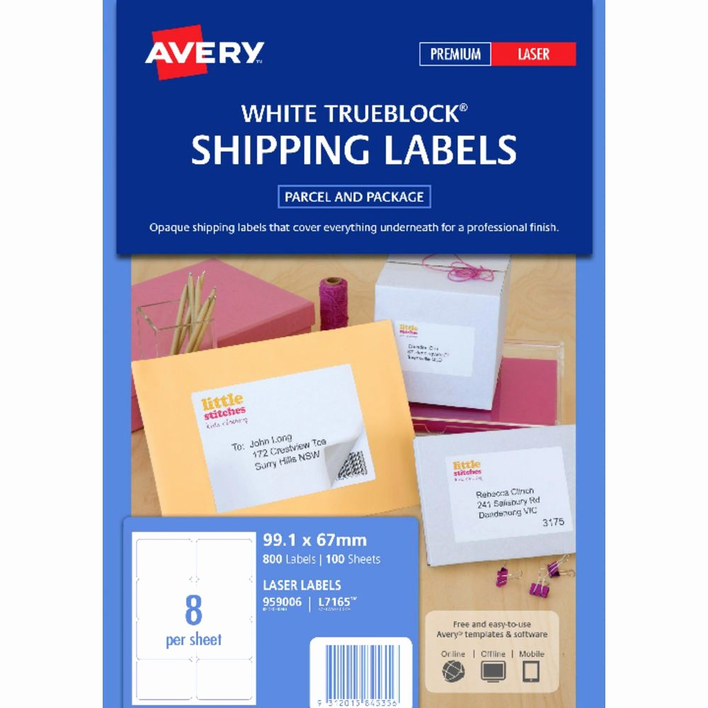 Avery Label 6 Per Page New Avery Laser Shipping Labels White 100 Sheets 8 Per Page