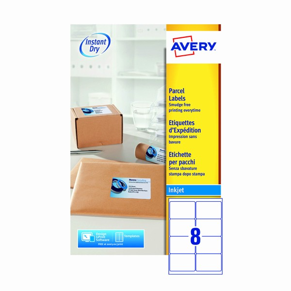 Avery Label 8 Per Page Awesome Avery Quickdry White Inkjet Labels 99 1 X 67 7mm 8 Per