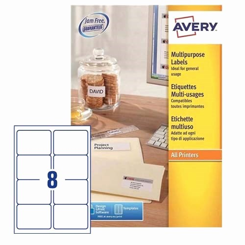 prod 1540 1541 4238 Avery White Copier Labels 8 per Sheet 105x74mm White Ref 3427 800 Labels