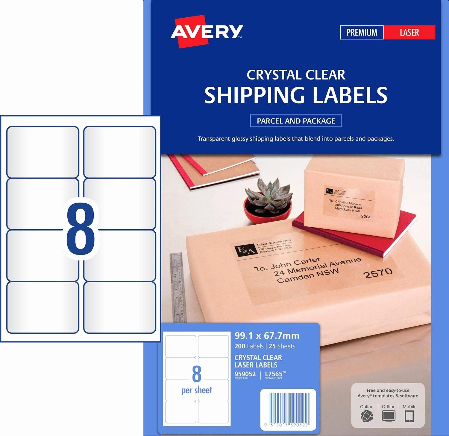 Avery Label 8 Per Page Elegant Crystal Clear Shipping Labels
