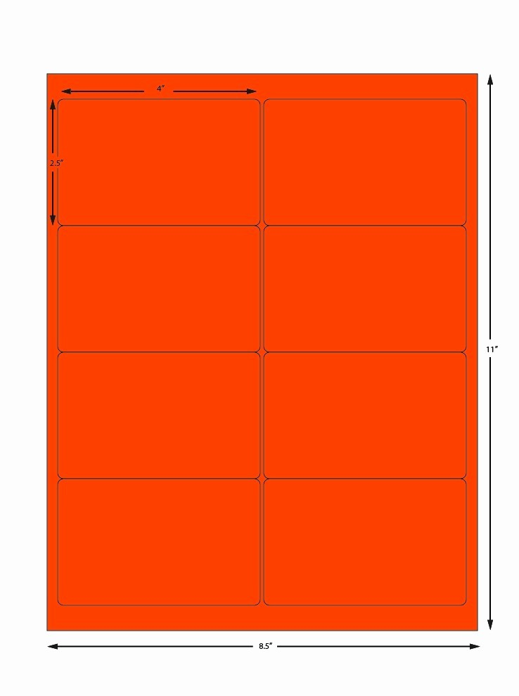 Avery Label 8 Per Page Fresh Avery orange Sheet Labels 8 Labels Per Sheet 4 X 2 5