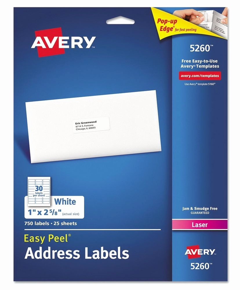 Avery Label 8 Per Page Lovely New 750 Avery Laser Address Labels 5160 5260 Easy Peel