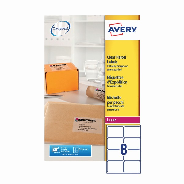 Avery Label 8 Per Page New Avery Clear Address Labels 99 1 X 67 7mm Pack Of 200