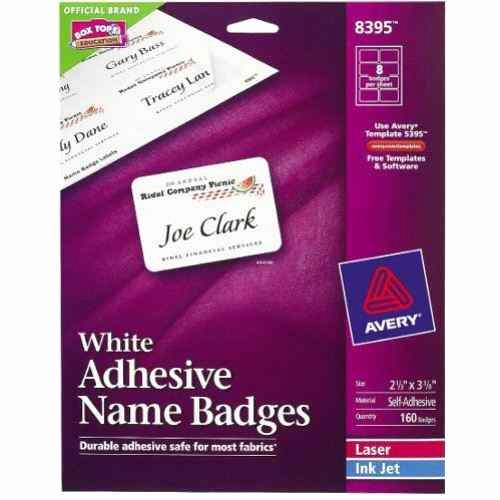 """Avery Label 8395 Word Template New Avery White Name Badge Label 2 1 3"""" X 3 3 8"""" 8up 20"""