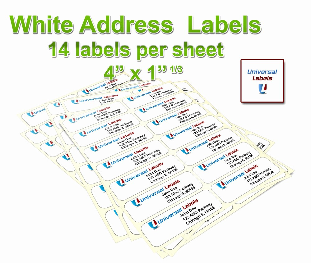 """Avery Labels 2 Per Page Awesome 3500 1 1 3 X 4"""" Labels 14 Labels Per Sheet Same Size as"""