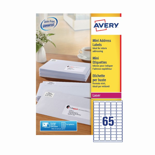 laser inkjet mini address labels 65 labels per sheet l7651