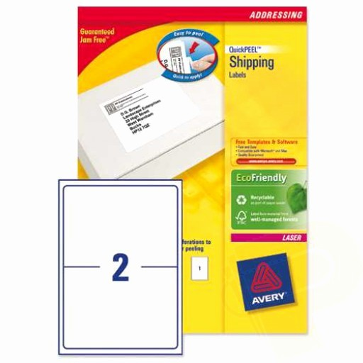 Avery Labels 2 Per Page Elegant L7168 Avery Laser Labels 2 Per Sheet 100 Sheets