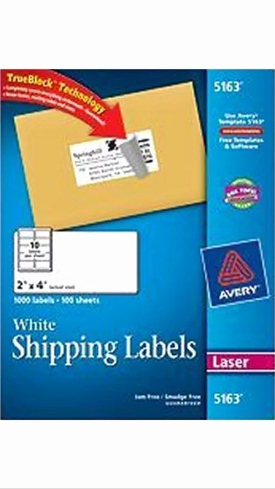 "Avery Labels 2 Per Page Fresh 50 Avery 5163 8163 2"" X 4"" Shipping Address Labels 10"