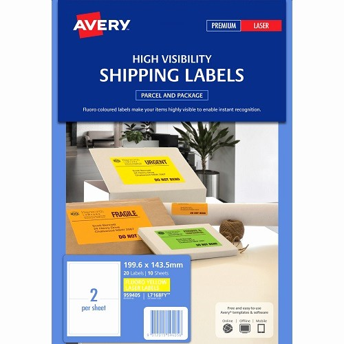 Avery Labels 2 Per Page Lovely Avery L7168fy Fluoro Yellow Shipping Labels 199 6 X 143