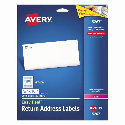 Avery Labels 2 Per Page New Avery 1 2 X 1 3 4 Laser Easy Peel Address Labels White