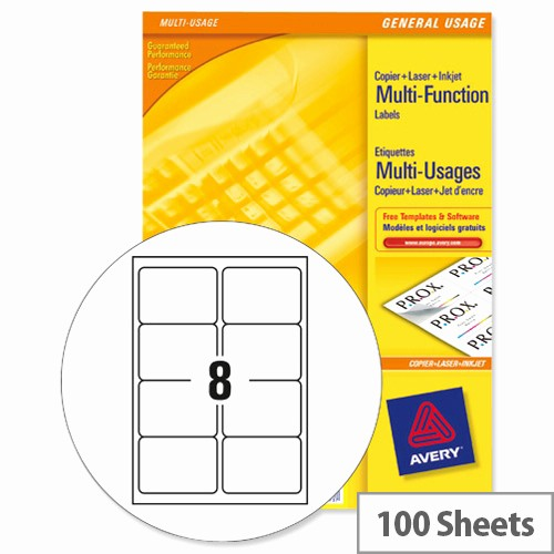 Avery Labels 2 Per Page New Avery 3427 Multi Function Labels 8 Per Sheet White 800