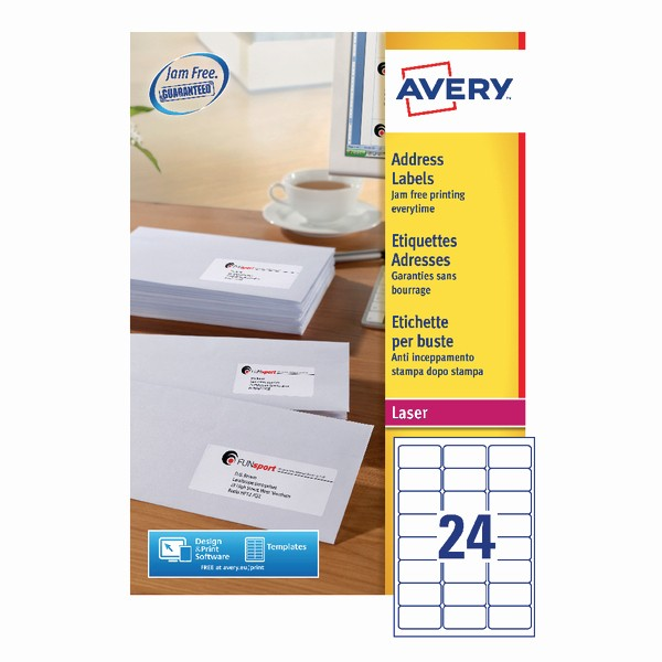 Avery Labels 2 Per Page New Avery Address Laser Labels 24 Labels Per Sheet 100 Sheets