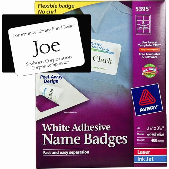 Avery Labels Name Tags Templates Awesome Avery 5395 White Adhesive Name Badges 2 1 3 X 3 3 8""