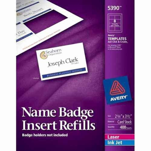 """Avery Labels Name Tags Templates Best Of Avery Name Badge Insert Refills 2 1 4"""" X 3 1 2"""" 8up 50"""