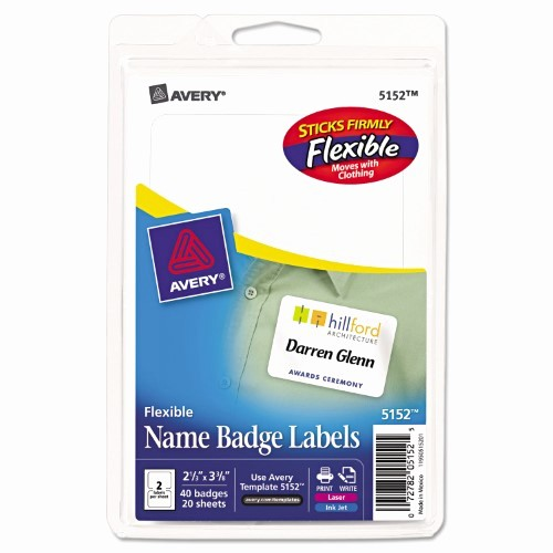 Avery Name Badge Labels Template Beautiful Avery 5152 Flexible Self Adhesive Laser Inkjet Name Badge
