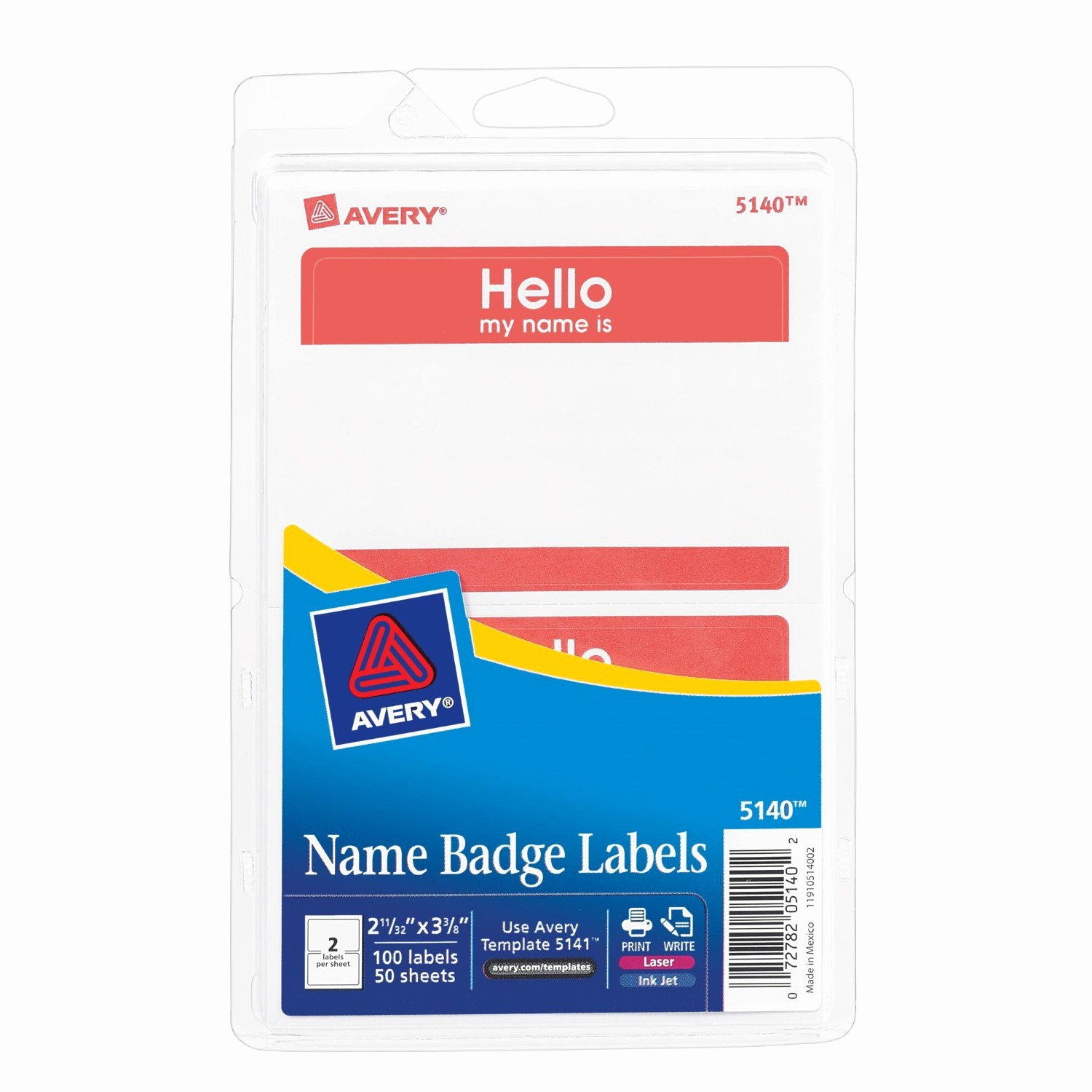 Avery Name Badge Labels Template Inspirational Avery Border Print or Write Name Badge Labels 2 34 X 3 38