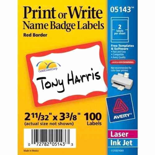 "Avery Name Badge Labels Template Lovely Avery Red Border Name Badge Label 2 11 32"" X 3 3 8"" 100pk"