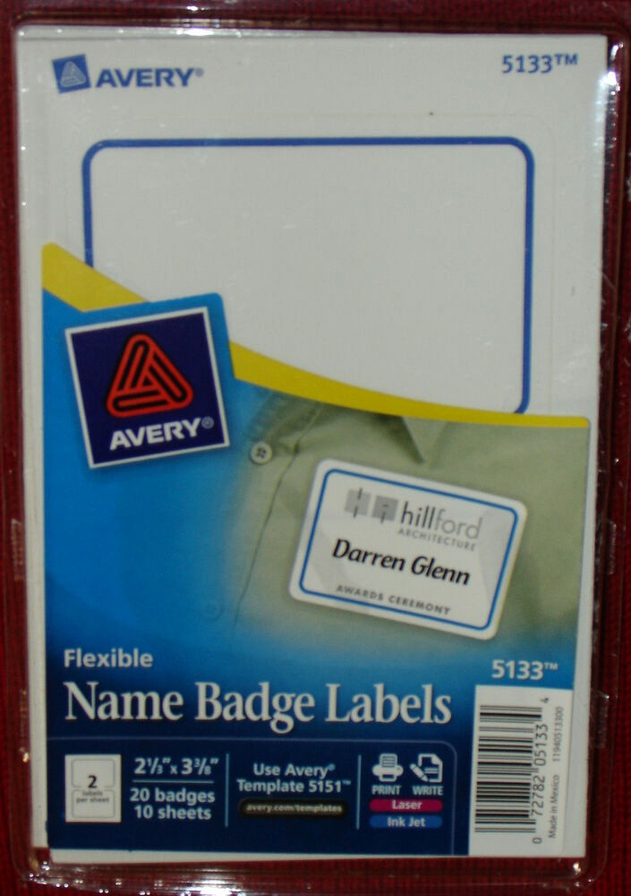 Avery Name Badge Labels Template Luxury Avery 5133 Flexible Name Badge 20 Labels Per Pack 2 1 3