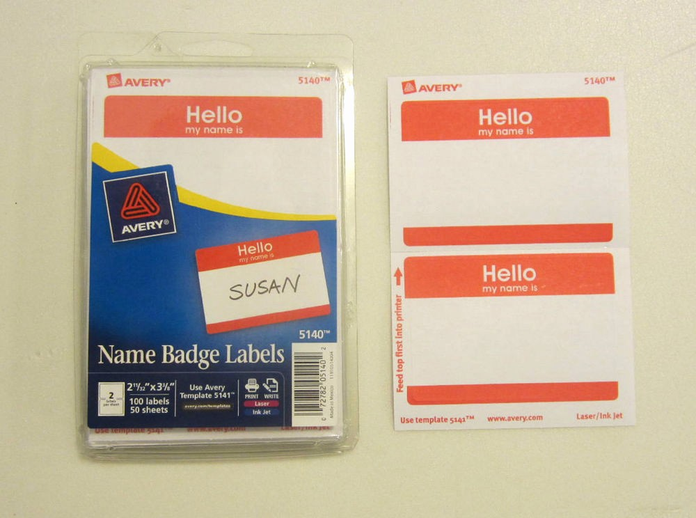 "Avery Name Tag Labels Template Best Of 100 Avery Dennison Red ""hello My Name is"" Name Tags Labels"