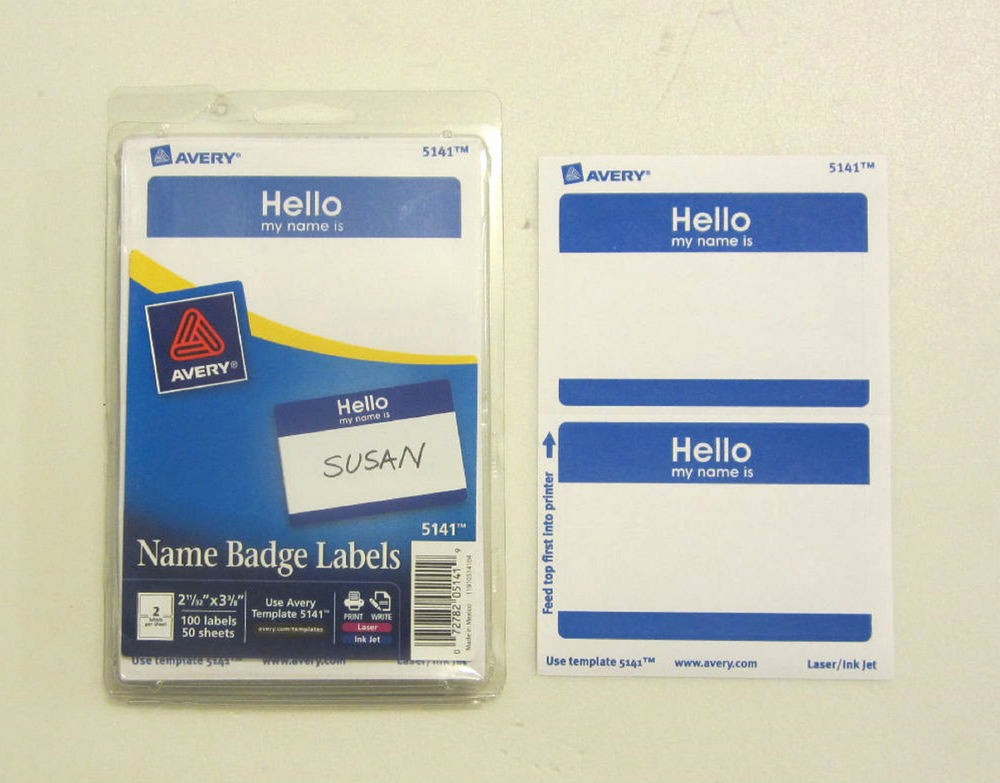 "Avery Name Tag Labels Template Inspirational 25 Avery Dennison Blue ""hello My Name is"" Name Tags Labels"