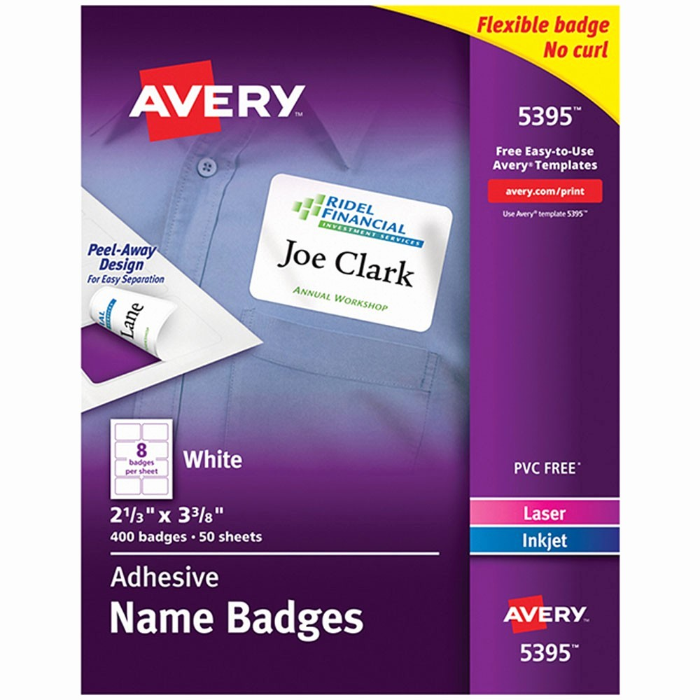 Avery Name Tag Labels Template Unique Self Adhesive Name Badges Wht Rect Ave