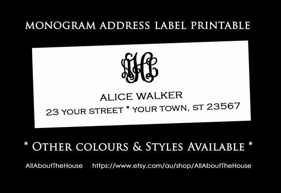 Avery Return Address Labels 5160 Awesome Monogram Address Label Printable Return Address