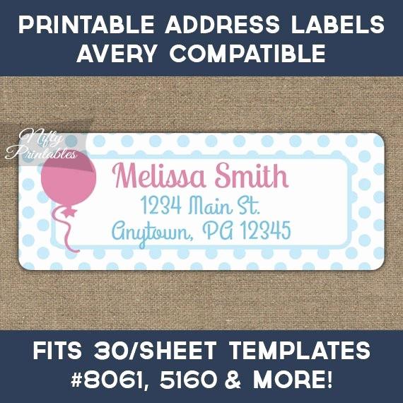 Avery Return Address Labels 5160 Fresh Printable Address Labels Pink Balloon Return by