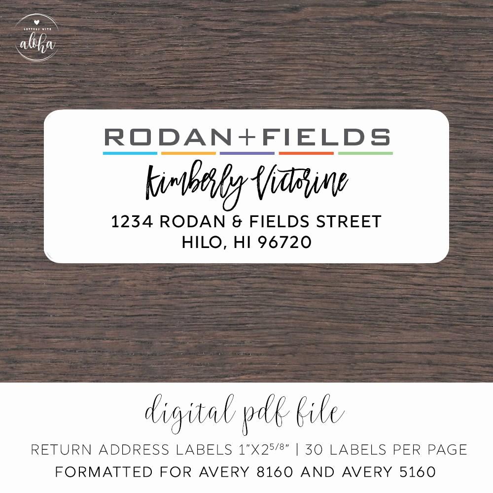 Avery Return Address Labels 5160 Fresh Rodan and Fields Personalized Return Address Labels Digital