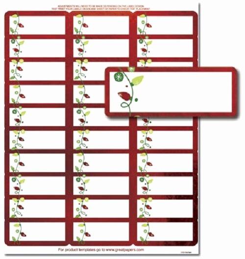 Avery Return Address Labels 5160 Lovely String Lights Red Foil Christmas Card Return Address