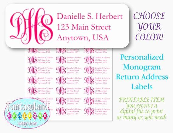 Avery Return Address Labels 5160 Luxury Monogram Avery 5160 Return Address Labels by