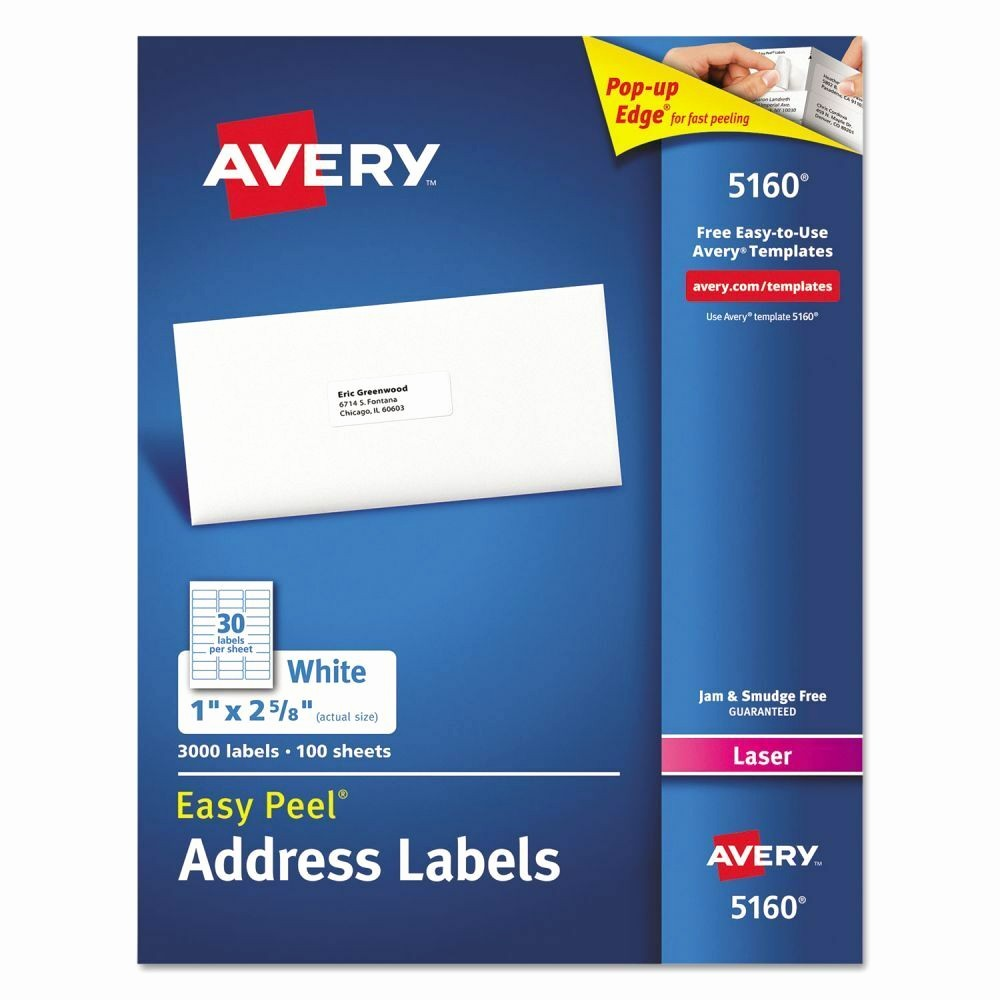 Avery Return Address Labels 5160 New Avery Easy Peel Address Labels Ave5160