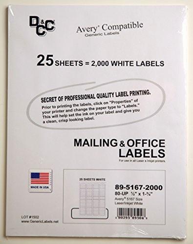 Avery Return Address Labels 5267 Beautiful 25 Sheets Dcc Generic White Self Adhesive Return Address