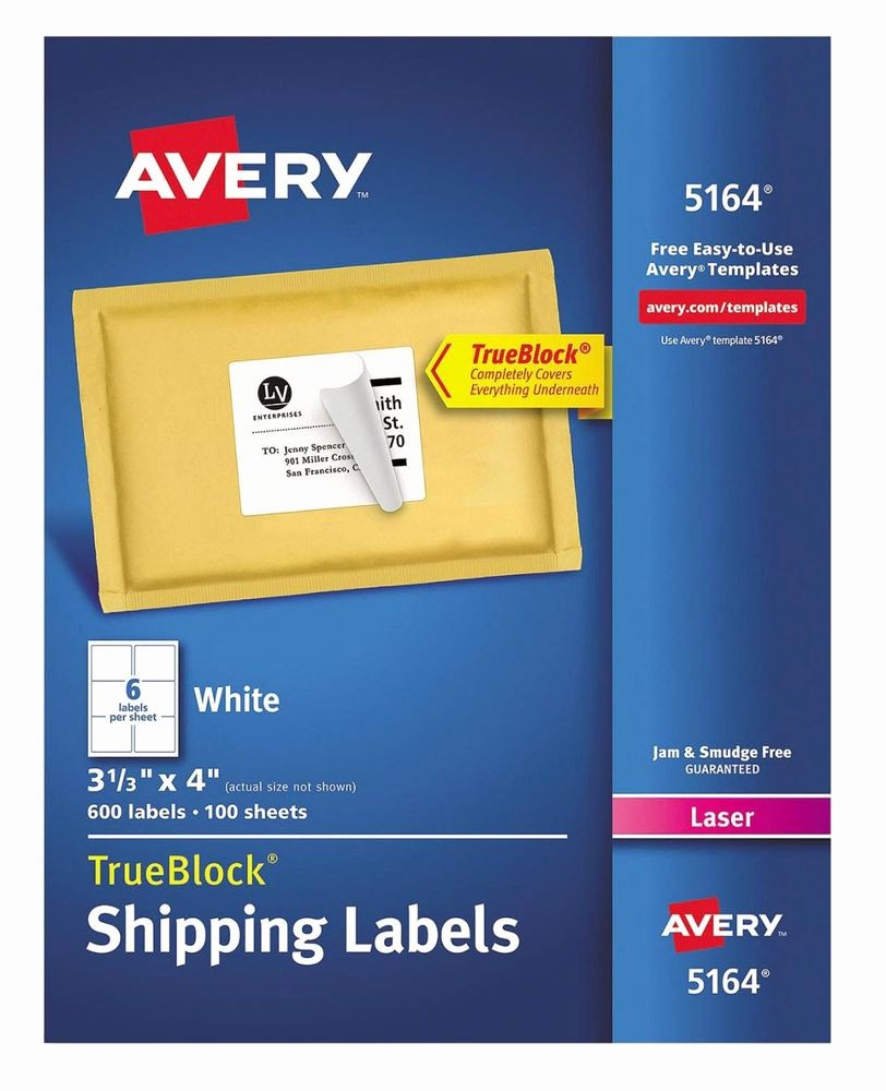 "Avery Shipping Label Templates 5164 Awesome 600 Pack Avery 5164 White Laser Shipping Labels 3 1 3"" X"
