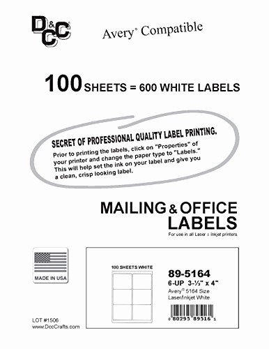 Avery Shipping Label Templates 5164 Luxury 600 Labels 6up Size 4 X 3 33 Use with Word Templates
