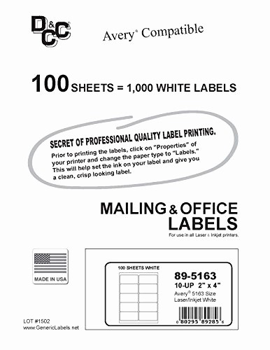 Avery Shipping Labels 5163 Template Best Of Dcc Generic White Self Adhesive Mailing Labels 2 X 4