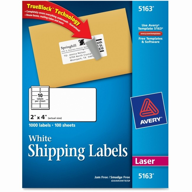 Avery Shipping Labels 5163 Template New Avery 5163 Easy Peel White Shipping Labels Permanent