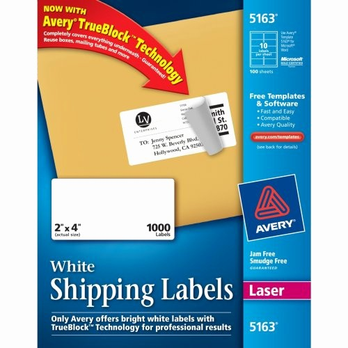 Avery Shipping Labels 5163 Template Unique Avery Easy Peel Clear Mailing Labels for Laser Printers 1