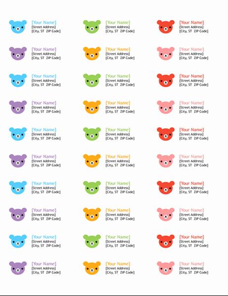 Avery Template 18660 Microsoft Word Inspirational Return Address Labels Rainbow Bears Design 30 Per Page