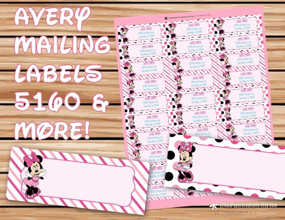 Avery Template 18660 Microsoft Word New Minnie Mouse Editable Mailing Labels Avery by