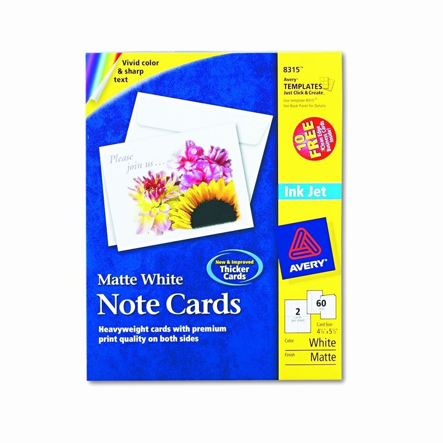 Avery Template 8315 Note Cards Lovely Avery Dennison Inkjet Matte Printing Label Ij Color 3 33