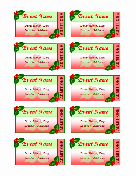 Avery Template 8871 for Word Beautiful Templates Certificates Holiday event Tickets 10 Per Sheet