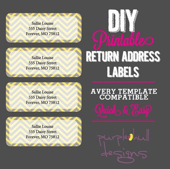 Avery Template Return Address Labels Awesome Chevron Return Address Labels Yellow Gray Avery Template