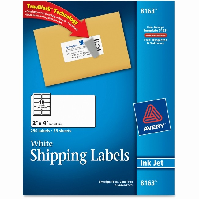 Avery Templates 8163 Microsoft Word Best Of Avery 8163 White Inkjet Shipping Labels Permanent Adhesive