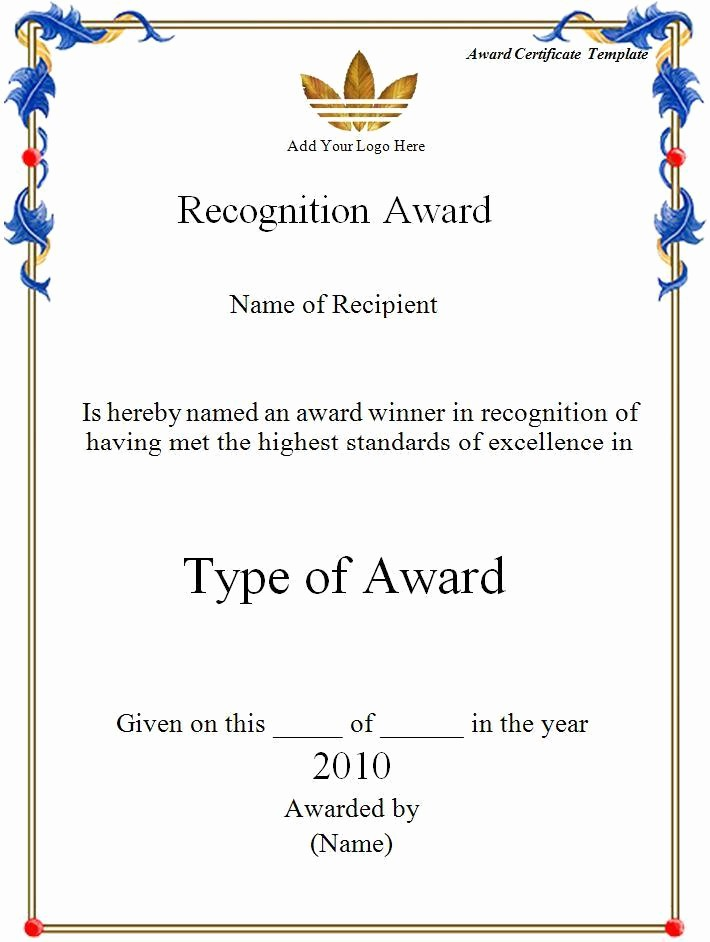 Award Certificate Template Microsoft Word Best Of Award Certificate Template Word Excel formats