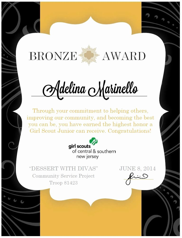 Award Certificate Template Microsoft Word Elegant Girl Scouts Bronze Award Certificate Made Using