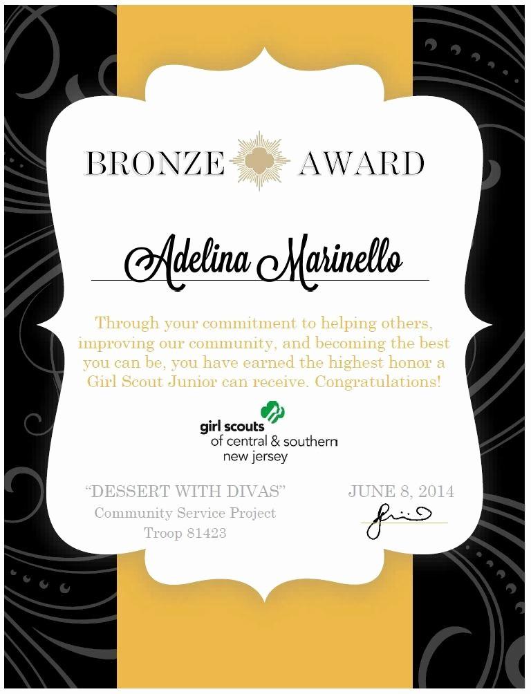 Award Certificate Template Microsoft Word Elegant Girl Scouts Bronze Award Certificate Made Using