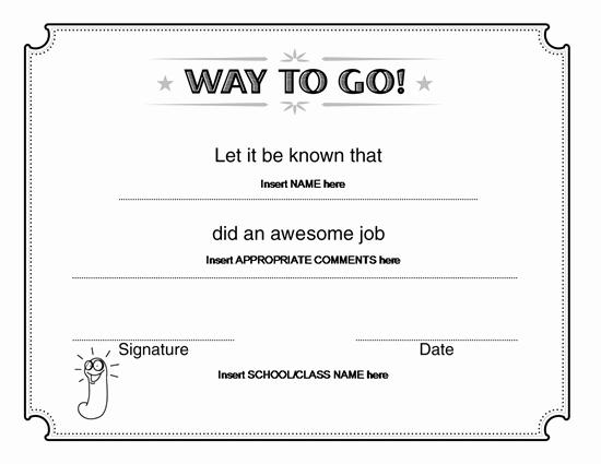 Award Certificate Template Microsoft Word Fresh Way to Go Award Certificate – Microsoft Word
