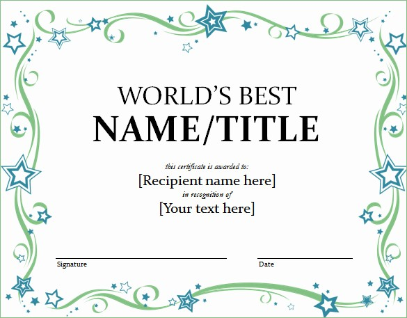 Award Certificate Template Microsoft Word Fresh Word Certificate Template 49 Free Download Samples